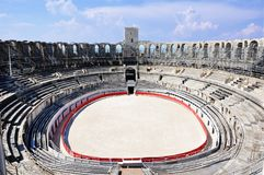 Arles Arena France, Europe with clouds and the blue sky stock images