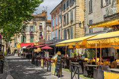Arles in Bouches du Rhone. Arles, France on the 10th June 2016: The Place du Forum, is where the Dutch artist Vincent Van Gogh painted the Cafe Terrace at Night stock images