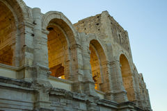 Arles coliseum at evening. Detail of Arles coliseum at evening Stock Images