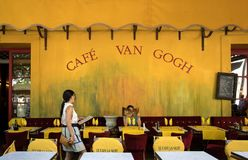 Cafe Van Gogh at Place du Forum in Arles. Provence, France. Arles, France - June 27, 2017: Cafe Van Gogh at Place du Forum in Arles. Provence, France. This is Royalty Free Stock Images