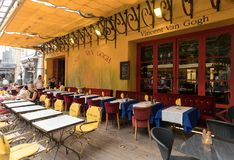 Cafe Van Gogh at Place du Forum in Arles. Provence, France. Arles, France - June 24, 2017: Cafe Van Gogh at Place du Forum in Arles. Provence, France. This is Royalty Free Stock Photography