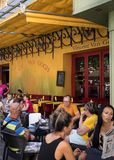 Cafe Van Gogh at Place du Forum in Arles. Provence, France. This is the same Cafe Terrace that Vincent van Gogh painted in 1888 an. Arles, France - June 27, 2017 stock images