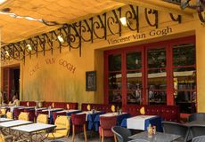 Cafe Van Gogh at Place du Forum in Arles. Provence, France. This is the same Cafe Terrace that Vincent van Gogh painted in 1888 an. Arles, France - June 24, 2017 royalty free stock image