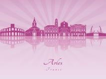 Arles linia horyzontu w purpurowej opromienionej orchidei Zdjęcia Royalty Free