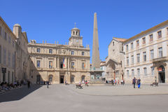 Arles Obelisk, Place de la République in France Royalty Free Stock Image