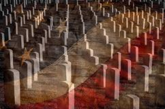 Arlington Cemetery with Faded Flag Stock Photos