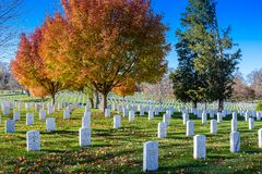 Arlington Cemetery on Fall Day stock images
