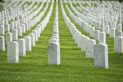 Arlington cemetery graveyard. White tombstones Stock Photography