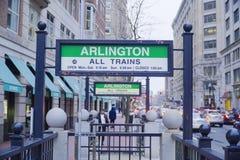 Arlington gångtunnelstation i Boston - BOSTON, MASSACHUSETTS - APRIL 3, 2017 Arkivfoto