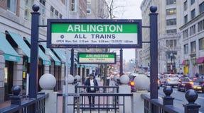 Arlington gångtunnelstation i Boston - BOSTON, MASSACHUSETTS - APRIL 3, 2017 Royaltyfri Fotografi
