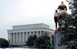 Arlington memorial bridge art statue covered snow Stock Images