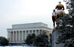 Arlington memorial bridge art statue covered snow. Cold beautiful day in Washington DC Stock Images