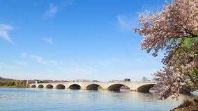 Arlington Memorial Bridge during cherry blossom festival in Washington DC. Stock Photos