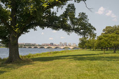 Arlington Memorial Bridge, Washington DC. The famous Arlington Bridge bridges the Potomac River on a hot July day. The Lincoln Memorial is just to the right of Royalty Free Stock Photo