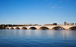 Arlington Memorial Bridge, Washington DC USA. Memorial Bridge and Arlington VA viewed from across the Potomac River Stock Images