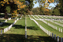 Arlington National Cemetery. Rows of gravestones at Arlington National Cemetery, Virginia in Autumn Stock Images