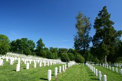 Arlington National Cemetery. With deep blue skies stock image