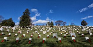 Arlington National Cemetery with Christmas wreaths Royalty Free Stock Photo