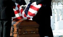 Arlington National Cemetery flag over casket Stock Image