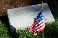 Arlington National Cemetery with national flag Stock Images