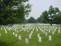 Arlington National Cemetery, straight view. Arlington National Cemetery with rows of graves and headstones royalty free stock image