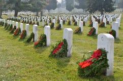 Arlington National Cemetery. Tombstones with Christmas Wreaths, Arlington National Cemetary, located in Washington, DC, USA royalty free stock photos
