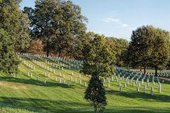 Arlington National Cemetery, Virginia, USA. View of the many thousands of graves at Arlington National Cemetery, USA. America`s Shrine to those who honorably Royalty Free Stock Image