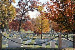 Arlington National Cemetery in Washington. A view of the Arlington National Cemetery on a sunny fall day in Washington DC, one of our historic places to visit in Royalty Free Stock Image