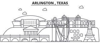 Arlington, Teksas architektury linii linii horyzontu ilustracja Liniowy wektorowy pejzaż miejski z sławnymi punktami zwrotnymi, m Obrazy Stock