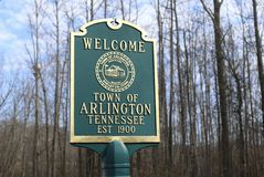 Arlington Tennessee Welcome Sign Fotografie Stock Libere da Diritti