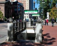 Arlington Train station, Boston, MA. Stairway leading to the Arlington train station in Boston, MA Stock Photos