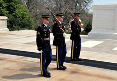 Arlington, VA: Marines at Unknown Soldier Tomb. Arlington, Virginia:  Three United States Marines perform the changing of the guard ceremony at the Tomb of the Royalty Free Stock Photography