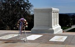 Arlington, VA: Tomb of Unknown Soldier. Arlington, Virginia:  Tomb of the Unknown Soldier and memorial floral wreath at Arlington National Cemetery Royalty Free Stock Photo
