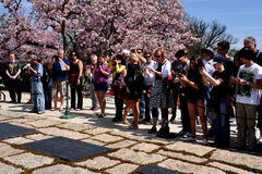 Arlington, VA: Tourists at Kennedy Gravesites Royalty Free Stock Images