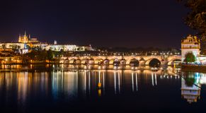 Arlov bridge in the evening prague. A beautiful view on karlov bridge in the evening prague Royalty Free Stock Photography