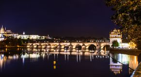 Arlov bridge in the evening prague. A beautiful view on karlov bridge in the evening prague Royalty Free Stock Image