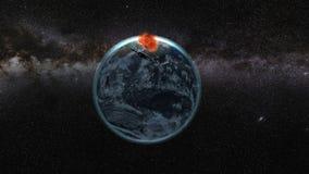 arly Flyg till och med meteoriter ett underbart solsken avstånd moon royaltyfri illustrationer