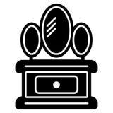 Armário com ícone do espelho Fundo branco Ilustração do vetor Foto de Stock
