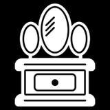 Armário com ícone do espelho Fundo branco Ilustração do vetor Foto de Stock Royalty Free