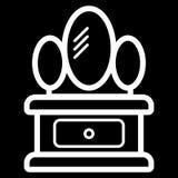 Armário com ícone do espelho Fundo branco Ilustração do vetor Imagens de Stock Royalty Free