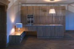 Armário de cozinha de madeira luxuoso 3d rendem Imagens de Stock