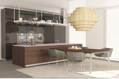 Armário de cozinha moderno com o espaço para refeições imagem de stock royalty free