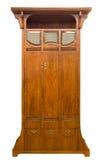 Armário de madeira antigo de Art Nouveau apenas restaurado no branco imagens de stock royalty free