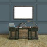 Armário de madeira clássico luxuoso do escritório com zombaria acima do cartaz parte superior vi ilustração do vetor