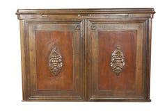 Armário de madeira do art nouveau do vintage no fundo branco Armário histórico com mostra de vidro foto de stock royalty free