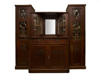 Armário de madeira do vintage velho isolado no branco foto de stock royalty free