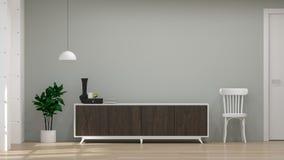 Armário de madeira e cadeiras da cor escura da tevê na mobília da ilustração da sala 3d, nos projetos home modernos, nas pratelei ilustração royalty free