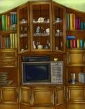 Armário e biblioteca do vintage imagem de stock royalty free