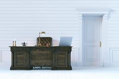 Armário luxuoso do escritório no interior de madeira clássico 3d rendem Fotografia de Stock Royalty Free