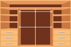 Armário, vestuário com prateleiras e gavetas Armário vazio, design de interiores da mobília, sala do vestuário, ilustração do vet ilustração royalty free
